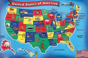 US map. Map of the United States of America, Map of the USA