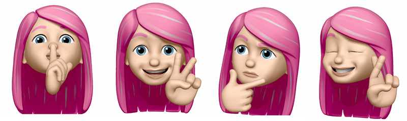 memoji, pink hair lady with different expressions