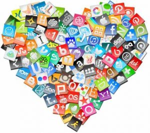 Social media, Heart, Social media signs in a heart shape, Social media logos,