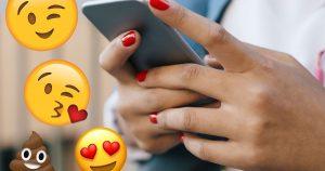 Emojis, Smileys, Person Texting, Poo emoji, Face Blowing A Kiss emoji, Heart Eyes emoji, Winking emoji