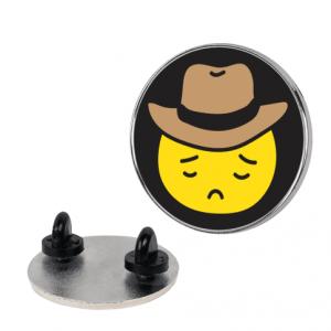 Sad cowboy emoji, Sad cowboy emoji pin, Sad Cowboy symbol, Sad Cowboy