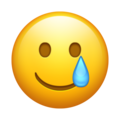 Smiling Face With Tear emoj, Smiling Face With Tear, Tear emoji,