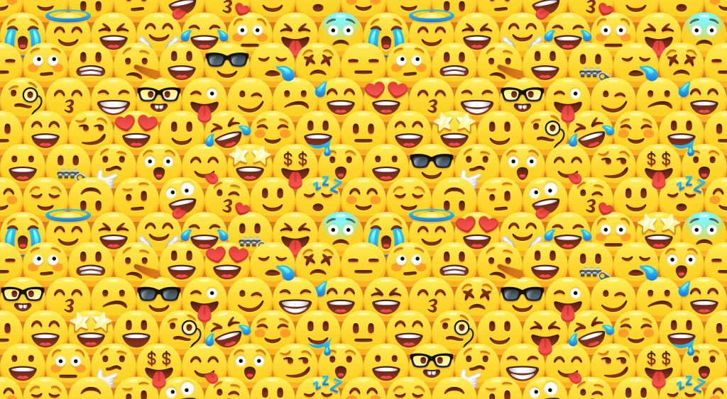 Funny yellow emoji faces pattern