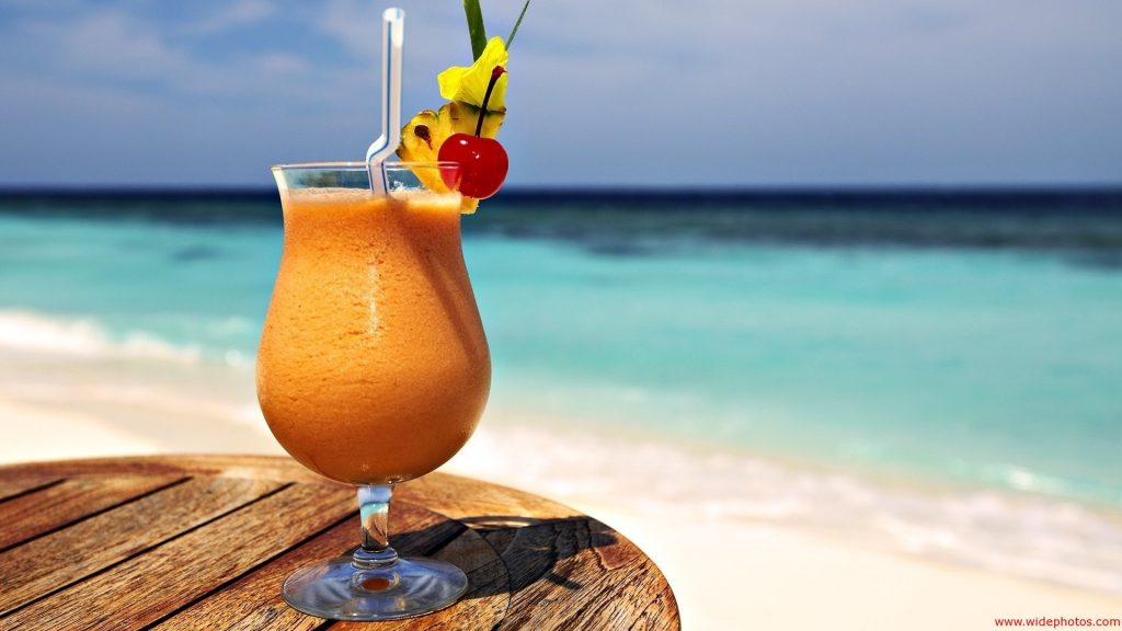 Tropical drink, beach drink, drink by the beach