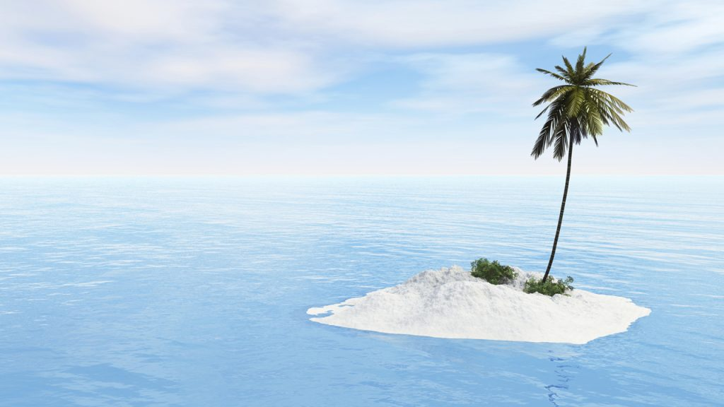 Desert Island, little island with sand, island in the middle of the sea, deserted island, lonely island
