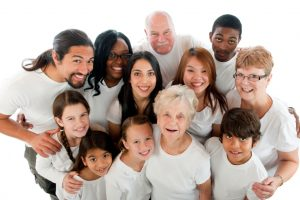 Multicultural family, Multicultural family in a white top, people from different nationalities