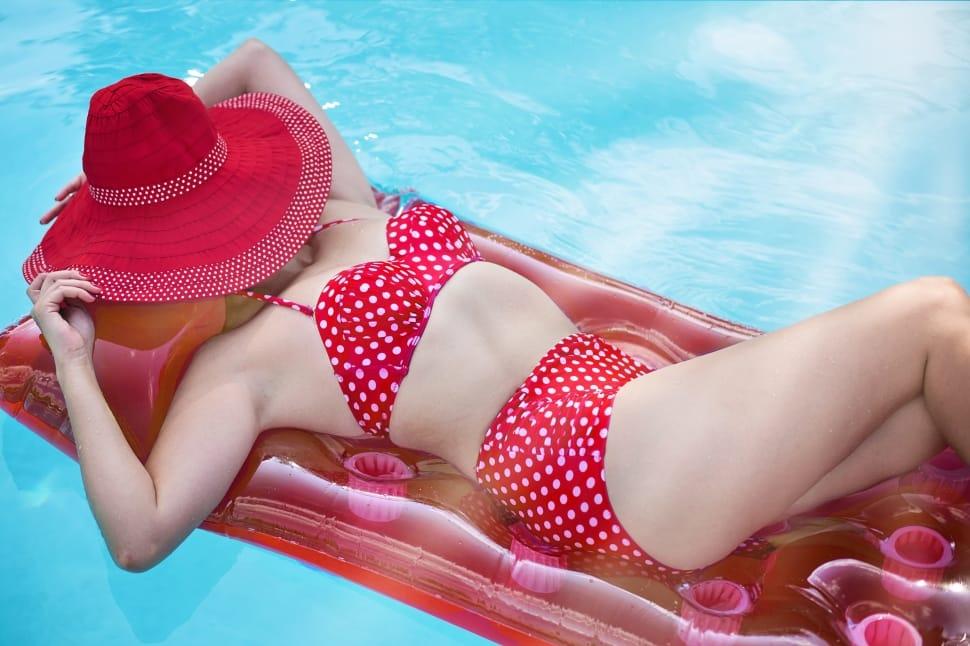 Girl in bikini, girl in polka dot bikini, girl in red bikini