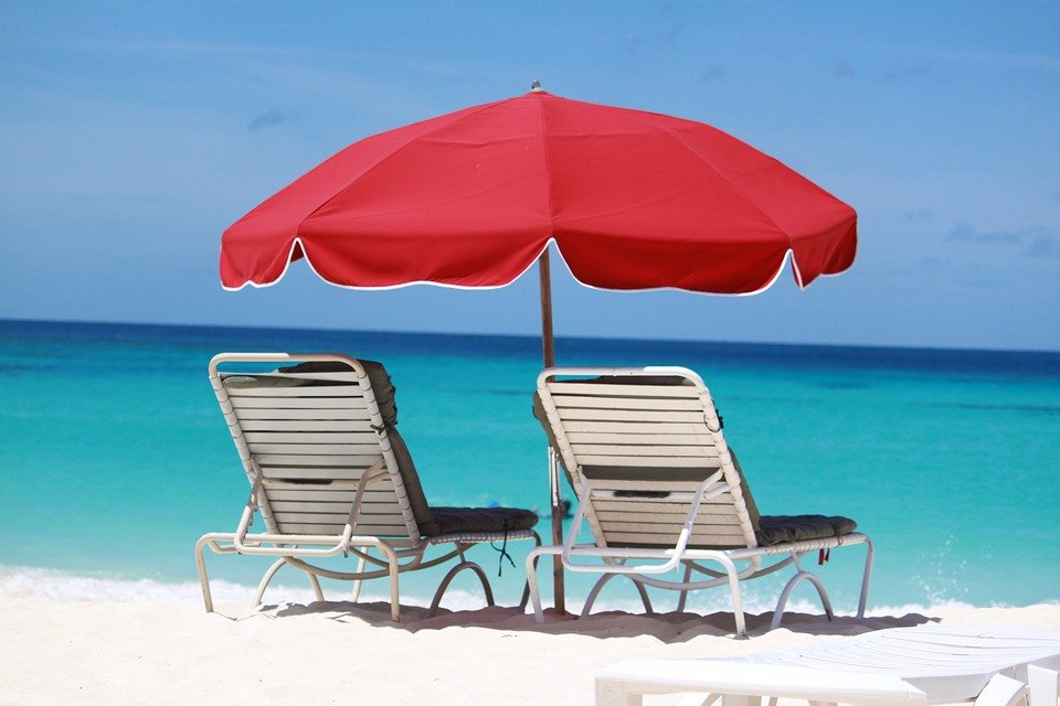 Beach With Umbrella photo, Red umbrella on the beach, Beach umbrella with chairs, Red umbrella on the beach with two chairs