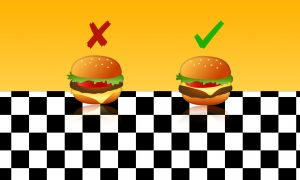 Hamburger emoji, Google version of Hamburger emoji, Wrong version of Google's Hamburger emoji, Right version of Google's Hamburger emoji