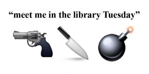 Gun emoji, knife emoji, bomb emoji