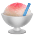 Shaved Ice emoji, bowl of shaved ice, ice in a bowl, shaved ice with cherry syrup and blue straw