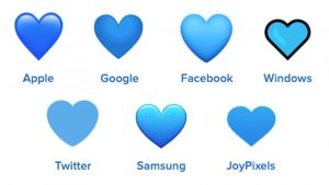 blue heart emojis on different platforms
