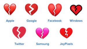 broken heart emojis on different platforms