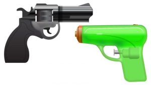 Gun emoji, Apple version of the Gun emoji, Pistol emoji, Apple Gun emoji, Apple Pistol emoji