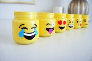 Mason jars, mason jars with emoji design, emoji design on jars, emoji jars, Winking Face With Tongue emoji, Smiling Face With Heart eyes emoji, Face With Tears Of Joy emoji