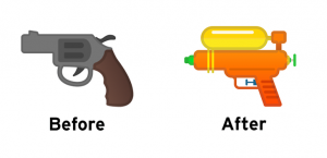 Gun emoji, Gun emoji on Google, Pistol emoji, Google's version of the Gun emoji