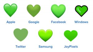 green heart emojis on different platforms