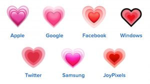 growing heart emojis on different platforms