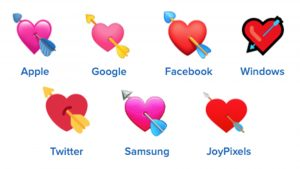 heart with arrows emojis on different platforms