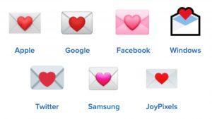 love letter emojis on different platforms