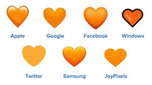 orange heart emojis on different platforms