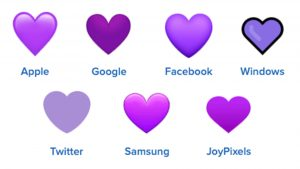 purple heart emojis on different platforms