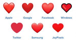 red heart emojis on different platforms