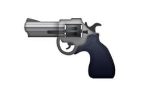 Gun emoji, emoji of a gun, revolver emoji, classic gun, handgun