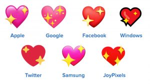 sparkling heart emojis on different platforms