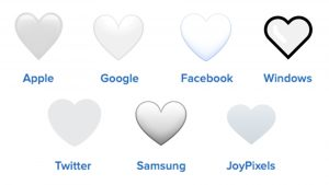 white heart emojis on different platforms