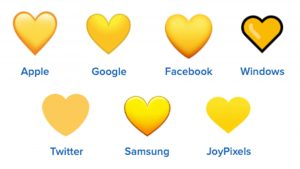 yellow heart emojis on different platforms
