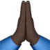 Dark Skin Tone Folded Hands emoji, Dark Skin Tone version of the Folded Hands emoji, Praying Hands Dark Skin Tone, Praying Hands emoji, Dark Skin Tone of the Praying Hands emoji