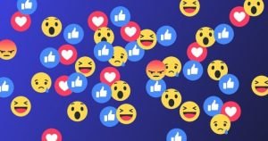 Facebook reactions, Group of Facebook reaction buttons, Facebook reaction buttons on a blue background, group of Facebook Like buttons, group of Facebook laughing buttons, group of Facebook love buttons, emojis, Facebook emoji, Facebook emojis