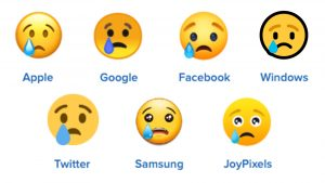 crying face emoji on other platforms