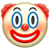 Clown emoji, Apple version of the Clown emoji, Clown emoji on Apple