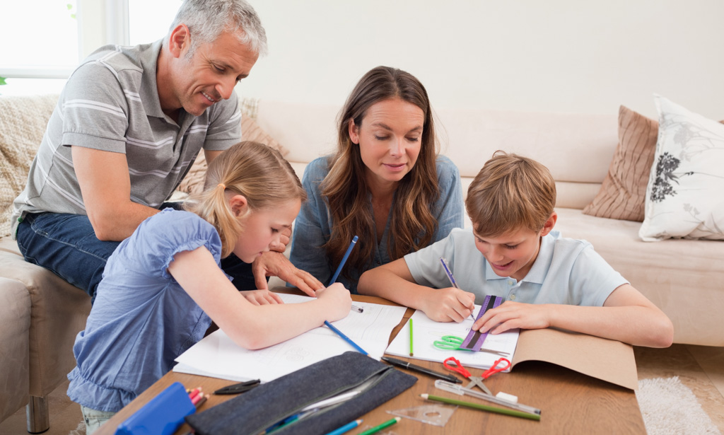 Homeschool, parents, kids learning at home, education at home