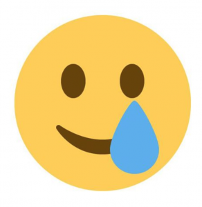 Smiling Face With Tear emoji, Smiling Face With Tear, Tear emoji, Twemoji 13.0