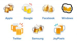clinking beer mugs on different platforms