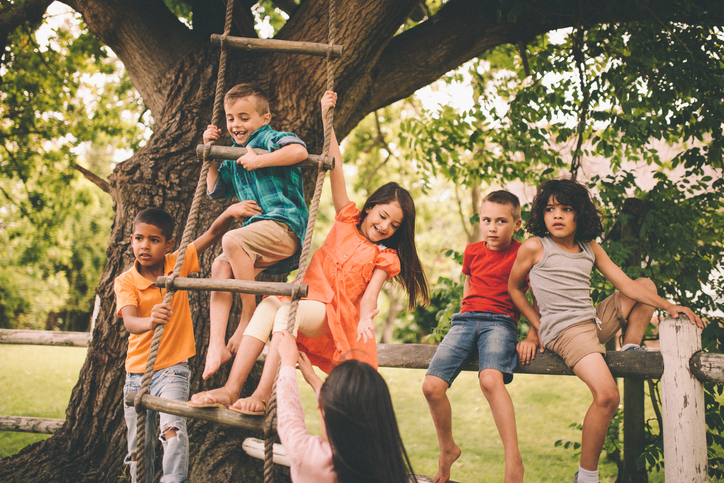 Group of children from mixed racial groups playing in a park on a rustic wooden fence and a rope ladder hanging down from a large tree on a summer day