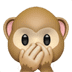 Three Wise Monkeys emoji series, Speak-No-Evil Monkey emoji, Apple version of the Speak-No-Evil Monkey emoji