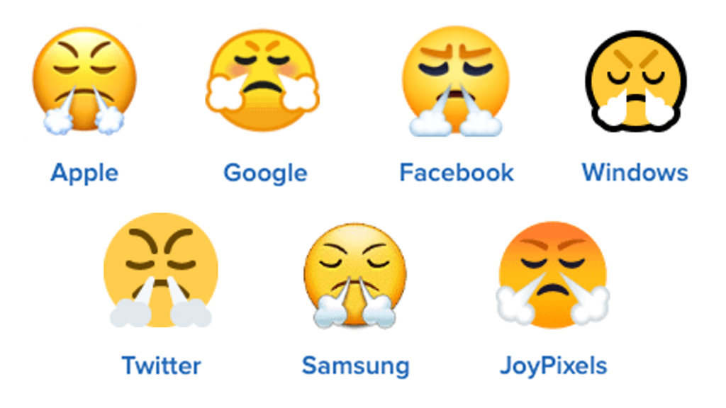 😤Face With Steam From Nose emoji on different platforms