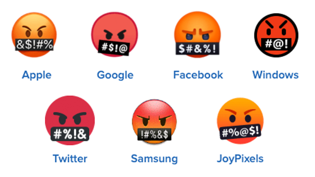 🤬 face with symbols on mouth emoji on different platforms