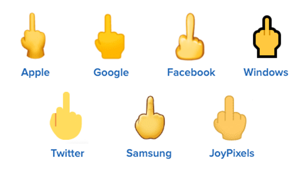 🖕 middle finger emoji on different platforms