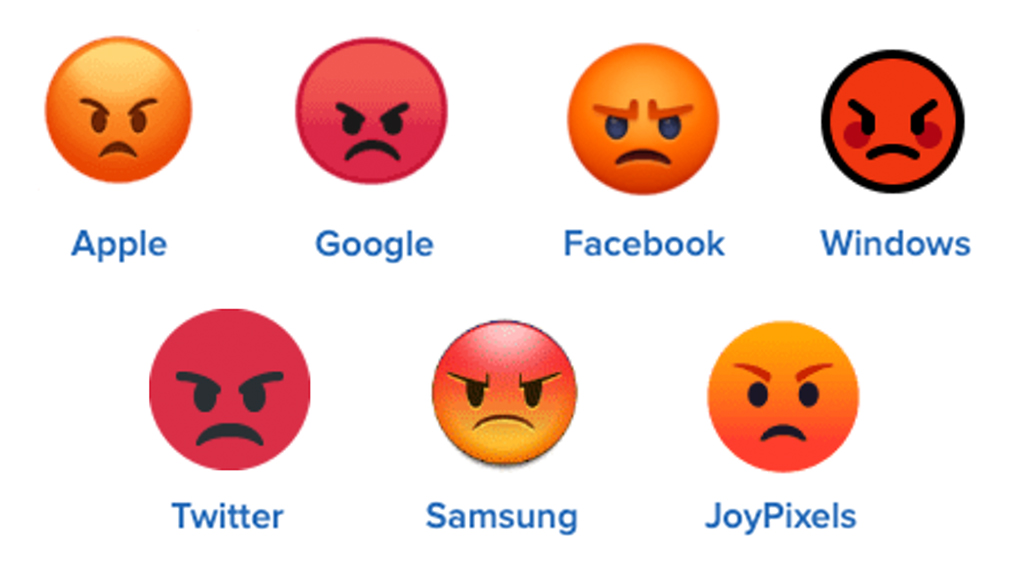 pouting face emoji on different platforms