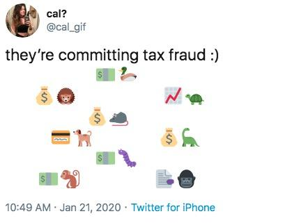 Twitter post of animal emojis committing tax fraud
