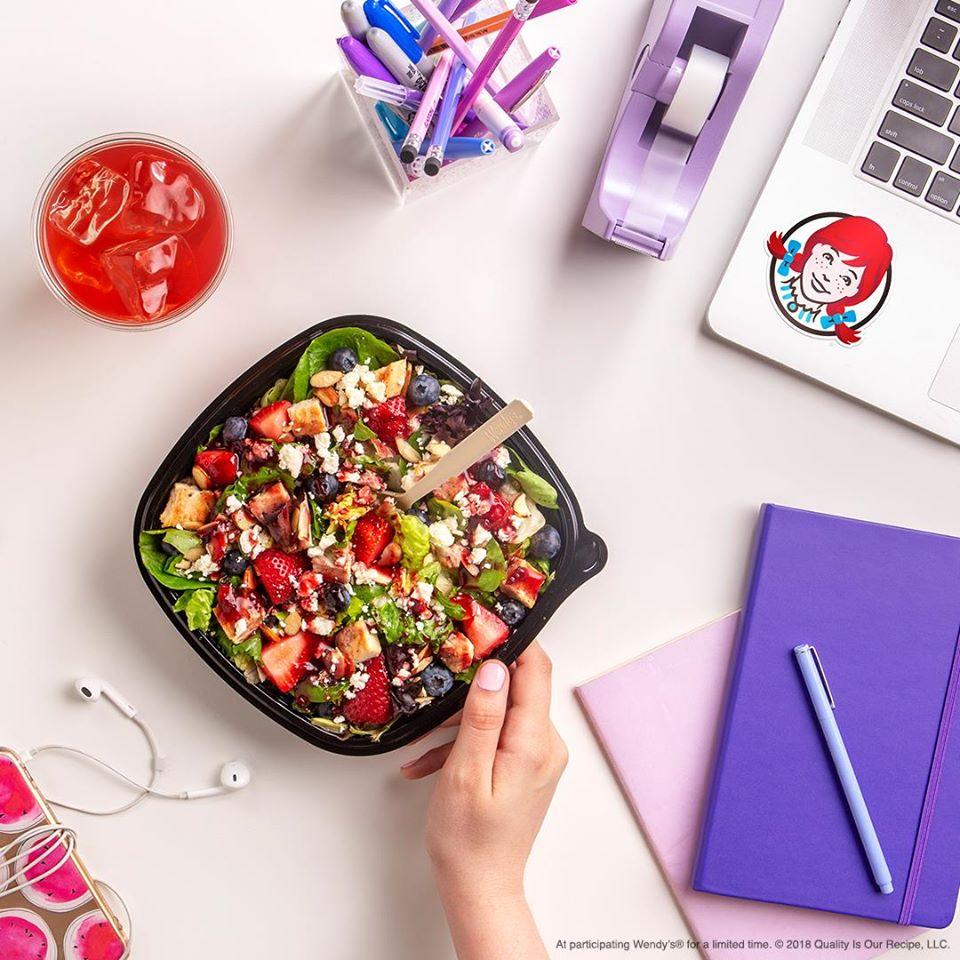 Wendy's salad, Berry Burst Chicken salad, Berry Cherry Fruit tea