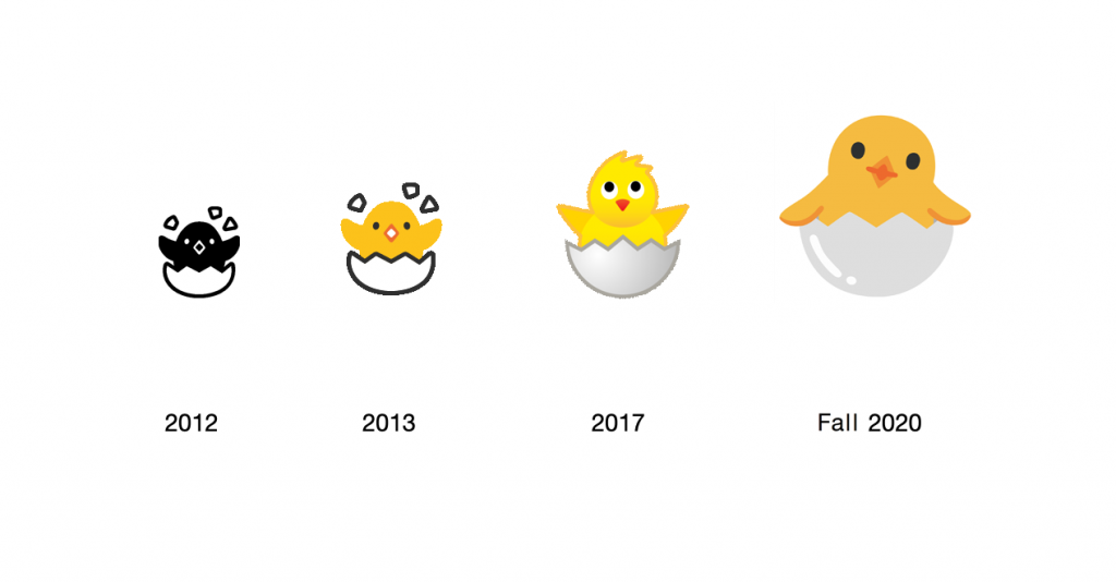 Hatching Chick emoji, Google classic emojis, Google's Hatching Chick emoji, Google Android's Hatching Chick emojis