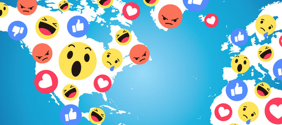 Facebook reaction emojis, Laughing emoji, Facebook like button, Facebook reaction emojis on top of a map