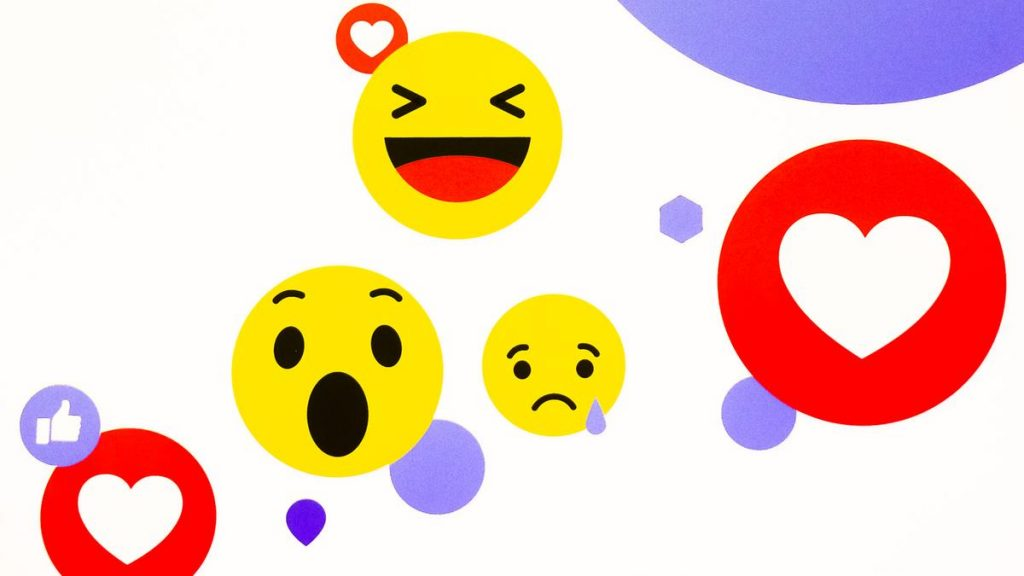 Facebook emojis, Heart emoji, Laughing emoji, Crying Face emoji, Astonished Face emoji