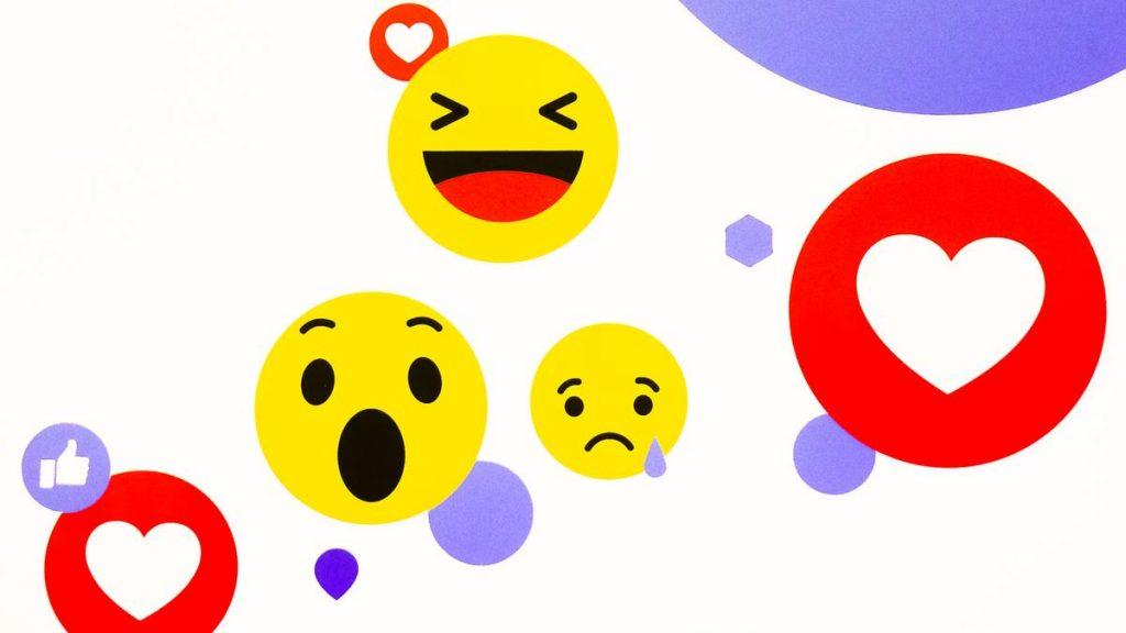 Facebook emojis, Heart emoji, Laughing emoji, Crying Face emoji, Astonished Face emoji